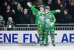 Stockholm 2015-01-30 Bandy Elitserien Hammarby IF - Sandvikens AIK :  <br /> Hammarbys Kalle Spjuth firar sitt 6-4 m&aring;l med Adam Gilljam under matchen mellan Hammarby IF och Sandvikens AIK <br /> (Foto: Kenta J&ouml;nsson) Nyckelord:  Elitserien Bandy Zinkensdamms IP Zinkensdamm Zinken Hammarby Bajen HIF Sandviken SAIK jubel gl&auml;dje lycka glad happy