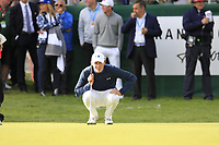 Matthew Fitzpatrick (ENG) lines up his putt on the 18th green on the 3rd playoff hole during Sunday's Final Round of the 2017 Omega European Masters held at Golf Club Crans-Sur-Sierre, Crans Montana, Switzerland. 10th September 2017.<br /> Picture: Eoin Clarke | Golffile<br /> <br /> <br /> All photos usage must carry mandatory copyright credit (&copy; Golffile | Eoin Clarke)