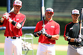 August 18 2008:  Cade Kreuter, Josh Elander, and Stephen Perez during the 2008 Under Armour All-American Game at Wrigley Field in Chicago, Illinois.  (Copyright Mike Janes Photography)