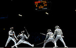 LONDON, ENGLAND - AUGUST 3:  Diego Occhiuzzi of Italy competes against Alexy Yakimenko of Russia during the Men's Fencing Team Sabre Bronze and Gold  Medal Final Day 7 of the London 2012 Olympic Games on August 3, 2012 at the Excell Center in London, England. (Photo by Donald Miralle)