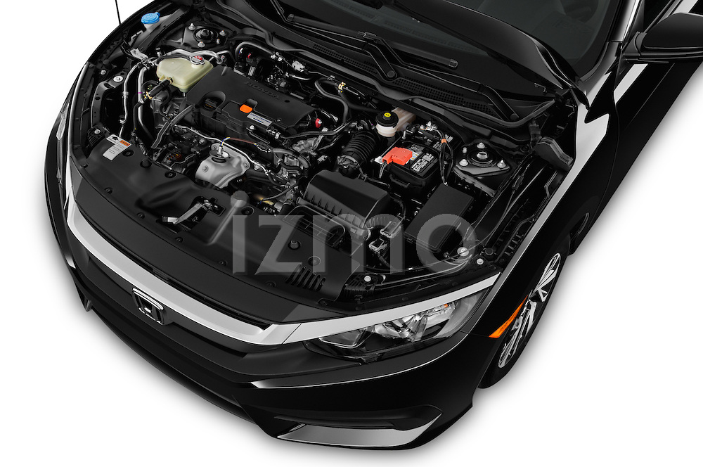 Car Stock 2018 Honda Civic LX 3 Door Coupe Engine  high angle detail view