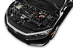 Car Stock 2016 Honda Civic LX 3 Door Coupe Engine  high angle detail view