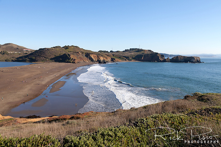 Rodeo Beach and the Marin Headlands at the Golden Gate National Recreation Area.