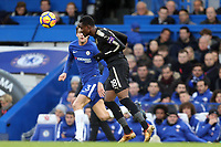 Daniel Amartey of Leicester city and Marcos Alonso of Chelsea during Chelsea vs Leicester City, Premier League Football at Stamford Bridge on 13th January 2018
