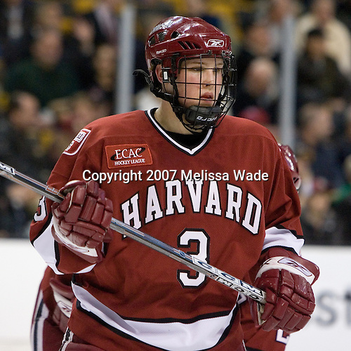 Alex Biega (Harvard University - Montreal, PQ) - The Boston College Eagles defeated the Harvard University Crimson 3-1 in the first round of the 2007 Beanpot Tournament on Monday, February 5, 2007, at the TD Banknorth Garden in Boston, Massachusetts.  The first Beanpot Tournament was played in December 1952 with the scheduling moved to the first two Mondays of February in its sixth year.  The tournament is played between Boston College, Boston University, Harvard University and Northeastern University with the first round matchups alternating each year.