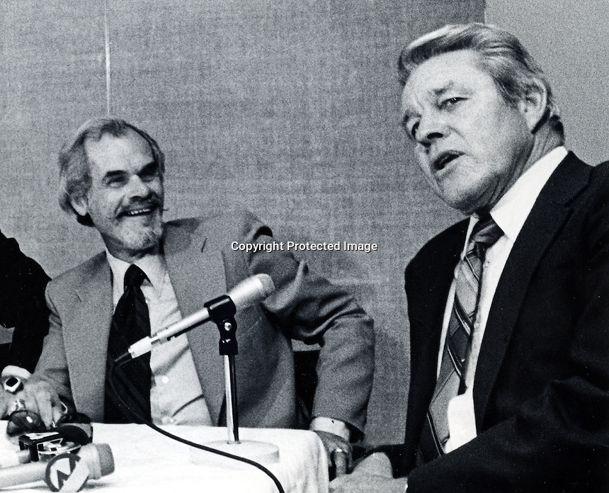 Legendary radio broadcasters Bill King and Lon Simmons. 1980 photo when they teamed to broadcast the Oakland Athletics games 1980 to 1986.<br />