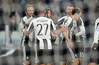 Calcio, Serie A: Juventus vs Bologna. Torino, Juventus Stadium, 8 gennaio 2017.<br /> Juventus&rsquo; Gonzalo Higuain, left, celebrates with teammates after scoring his second goal during the Italian Serie A football match between Juventus and Bologna at Turin's Juventus Stadium, 8 January 2017. Juventus won 3-0.<br /> UPDATE IMAGES PRESS/Manuela Viganti