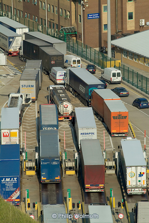 Lorries on the dockside at the Dover ferry terminal.