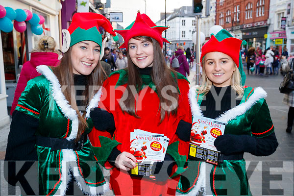 Carol McMahon, Danielle Garland and Katie McCarthy, pictured at the CH Chemist Santa parade in Tralee on Saturday afternoon last.