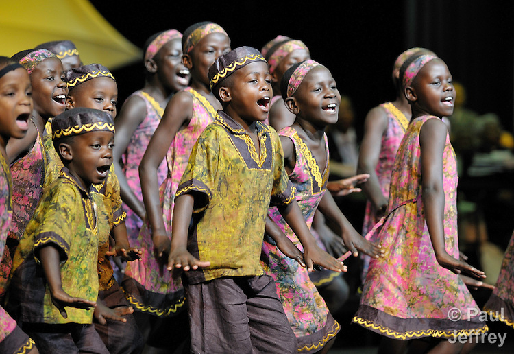 The Hope for Africa Children's Choir performs during morning worship on April 29 at the 2008 United Methodist General Conference in Fort Worth, Texas. The children are from war-torn northern Uganda..