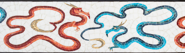 """8"""" Here Be Dragons border, a hand-cut glass mosaic, shown in Absolute White Sea Glass™, Sardonyx, Obsidian, Ruby, Chrysocolla, Alexandrite, and Marcasite jewel glass, with Gold glass, is part of Cean Irminger's second KIDDO Collection, """"KIDDO: Wunderkammer® Edition"""" for New Ravenna."""
