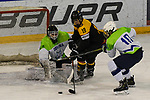 06.04.2019, BLZ Arena, Füssen / Fuessen, GER, FSP, U18, Deutschland (GER) vs Slowenien (SLO), <br /> im Bild Val Usnik (SLO, #1), John Peterka (GER, #18), Zan Poklukar Bastarda (SLO, #10)<br /> <br /> Foto © nordphoto / Hafner
