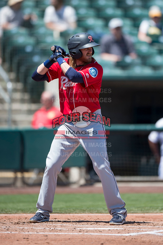 Tacoma Rainiers second baseman Taylor Motter (8) at bat during a Pacific Coast League against the Sacramento RiverCats at Raley Field on May 15, 2018 in Sacramento, California. Tacoma defeated Sacramento 8-5. (Zachary Lucy/Four Seam Images)