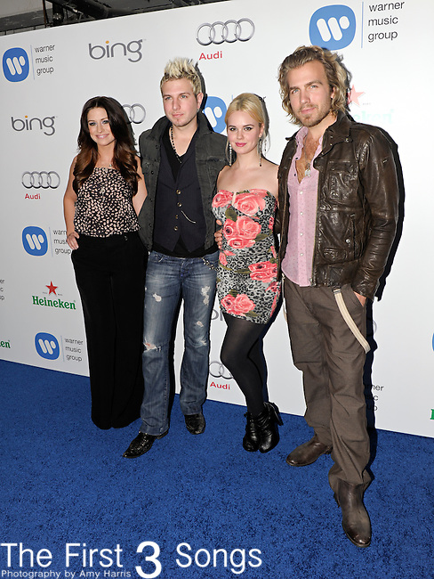 Rachel Reiner, Mike Gossin, Cheyenne Kimball, and Tom Gossin of the band Gloriana attend the Warner Music Group/Bing Grammy Event at the Soho House in LA on Sunday February 13, 2011.