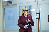 United States Senator Maggie Hassan (Democrat of New Hampshire) walks through the Senate Subway during a cloture vote on a Coronavirus Stimulus Package at the United States Capitol in Washington D.C., U.S., on Monday, March 23, 2020.  Credit: Stefani Reynolds / CNP/AdMedia