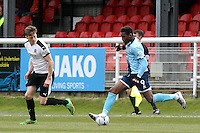 Omar Bogle (right) during the Vanarama National League match between Dover Athletic and Grimsby Town at the Crabble Athletic Ground, Dover, England on 16 April 2016. Photo by Tony Fowles/PRiME Media Images.
