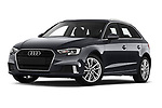 Stock pictures of low aggressive front three quarter view of a 2019 Audi A3 Sportsportback Sport 5 Door Hatchback