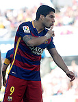 FC Barcelona's Luis Suarez celebrates goal during La Liga match. May 14,2016. (ALTERPHOTOS/Acero)