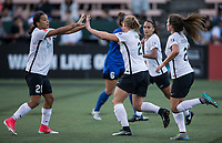 Seattle, WA - Saturday July 22, 2017: Samantha Kerr, Leah Galton during a regular season National Women's Soccer League (NWSL) match between the Seattle Reign FC and Sky Blue FC at Memorial Stadium.
