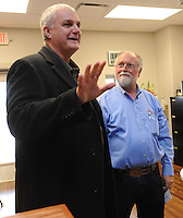 NWA Democrat-Gazette/ANDY SHUPE<br /> Springdale Mayor Doug Sprouse (left) speaks alongside Gordon Whitbeck, president and microbiologist of Whitbeck Labs in Springdale, Wednesday, Jan. 18, 2017, during a grand opening celebration at the newly constructed office and laboratory for the longtime poultry testing company in Springdale.