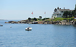 House on Shore at Ocean Point, Maine, USA