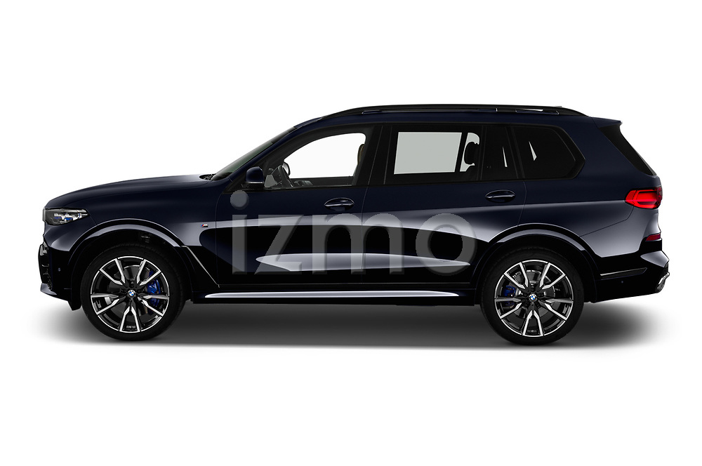 Car Driver side profile view of a 2019 BMW X7 M-Sport 5 Door SUV Side View