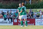 04.09.2018, Hoheellern-Stadion, Leer, GER, FSP, Werder Bremen (GER) vs FC Emmen (NED)<br /> <br /> DFL REGULATIONS PROHIBIT ANY USE OF PHOTOGRAPHS AS IMAGE SEQUENCES AND/OR QUASI-VIDEO.<br /> <br /> im Bild / picture shows<br /> Davy Klaassen (Werder Bremen #30) bejubelt seinen Treffer zum 1:1 mit Joshua Sargent (Werder Bremen #19), <br /> <br /> Foto © nordphoto / Ewert