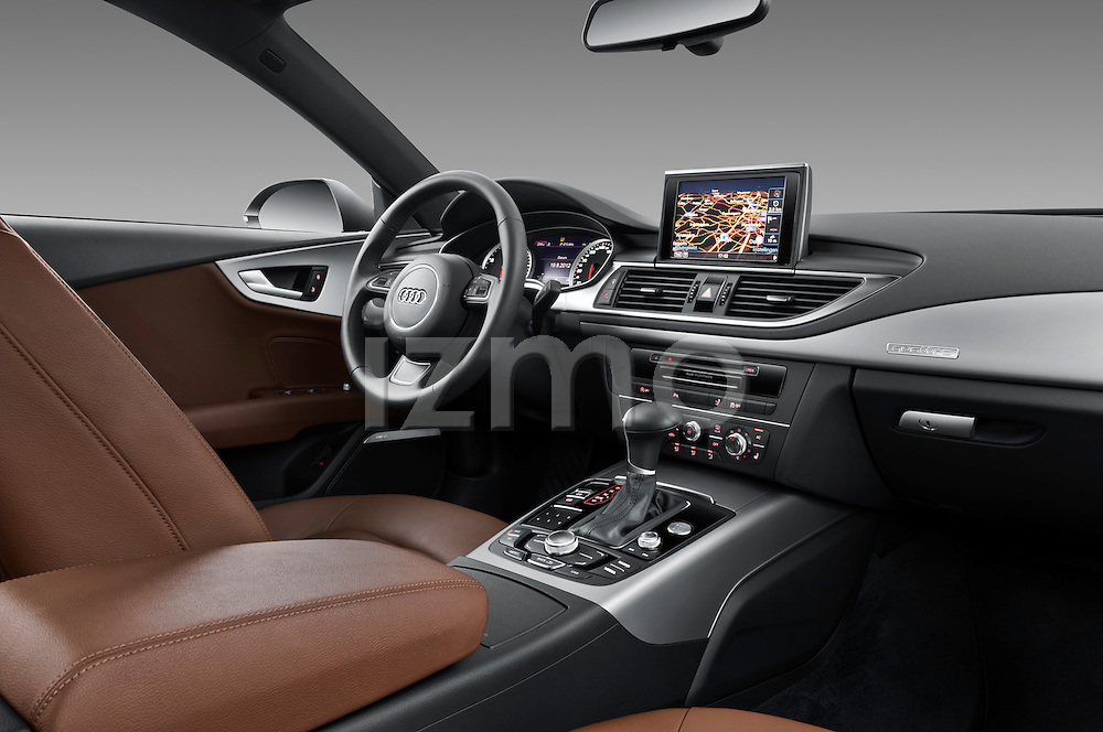 Passenger side dashboard view of a 2013 Audi A7 Hatchback.