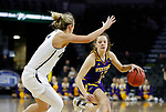 SIOUX FALLS, SD - MARCH 8: Olivia Kaufmann #13 of the Western Illinois Leathernecks drives to the basket against Oral Roberts Golden Eagles defender at the 2020 Summit League Basketball Championship in Sioux Falls, SD. (Photo by Richard Carlson/Inertia)