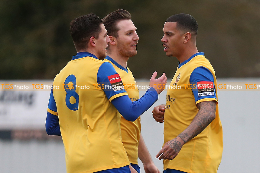 Leon McKenzie of Hornchurch (R) scores the first goal for his team and celebrates during Heybridge Swifts vs AFC Hornchurch, Ryman League Division 1 North Football at The Texo Stadium, Scraley Road on 25th February 2017