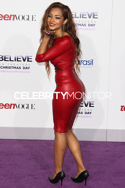 "LOS ANGELES, CA - DECEMBER 18: Singer Jessica Jarrell arrives at the World Premiere Of Open Road Films' ""Justin Bieber's Believe"" held at Regal Cinemas L.A. Live on December 18, 2013 in Los Angeles, California. (Photo by Xavier Collin/Celebrity Monitor)"