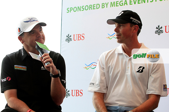 """Former Open Championship Winner Paul Lawrie (SCO) with The 2012 Players Championship Winner Matt Kuchar (USA) during the """"Meet the Players"""" Press Conference and Photo Call held at the Pearl on the Peak, The Peak Tower, Hong Kong ahead of the UBS Hong Kong Open 2012, Hong Kong Golf Club, Fanling, Hong Kong. 13/11/12...(Photo Jenny Matthews/www.golffile.ie)"""