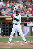 Jose Siri (12) of the Dayton Dragons at bat against the West Michigan Whitecaps at Fifth Third Field on May 29, 2017 in Dayton, Ohio.  The Dragons defeated the Whitecaps 4-2.  (Brian Westerholt/Four Seam Images)