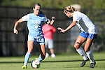 19 October 2014: North Carolina's Summer Green (6) and Duke's Schuyler DeBree (right). The Duke University Blue Devils hosted the University of North Carolina Tar Heels at Koskinen Stadium in Durham, North Carolina in a 2014 NCAA Division I Women's Soccer match. North Carolina won the game 3-0.