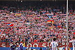 Atletico de Madrid´s supporters holding flags and scarfs during 2014-15 La Liga Atletico de Madrid V Espanyol match at Vicente Calderon stadium in Madrid, Spain. October 19, 2014. (ALTERPHOTOS/Victor Blanco)