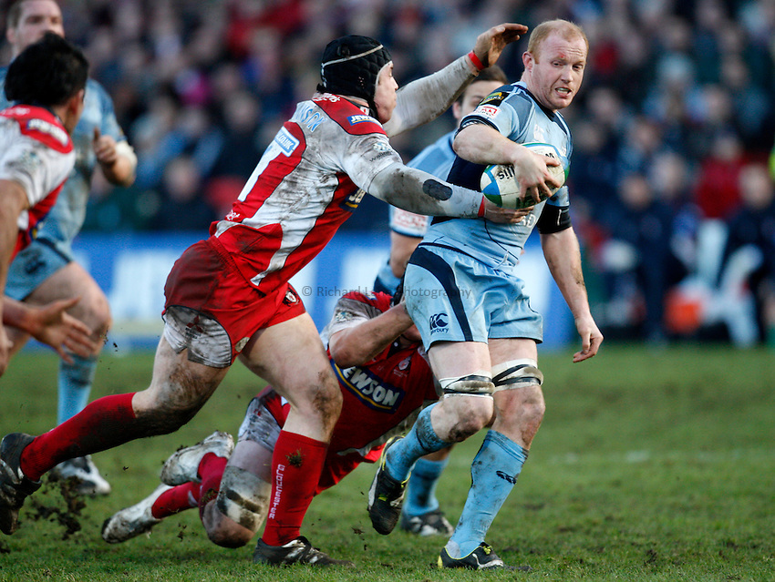 Photo: Richard Lane/Richard Lane Photography. Gloucester Rugby v Cardiff Blues. Heineken Cup. 18/01/2009. Cardiff's Martyn Williams attacks.