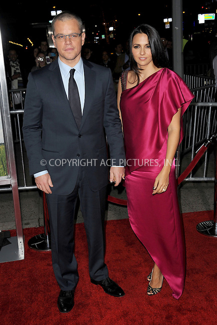 WWW.ACEPIXS.COM . . . . . .December 4, 2012...New York City....Matt Damon and Luciana Barroso attend the 'Promised Land' premiere at AMC Loews Lincoln Square 13 on December 4, 2012 in New York City ....Please byline: KRISTIN CALLAHAN - ACEPIXS.COM.. . . . . . ..Ace Pictures, Inc: ..tel: (212) 243 8787 or (646) 769 0430..e-mail: info@acepixs.com..web: http://www.acepixs.com .