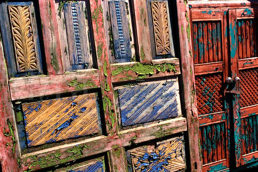 Paint peeling off old Spanish doors, Santa Fe, New Mexico