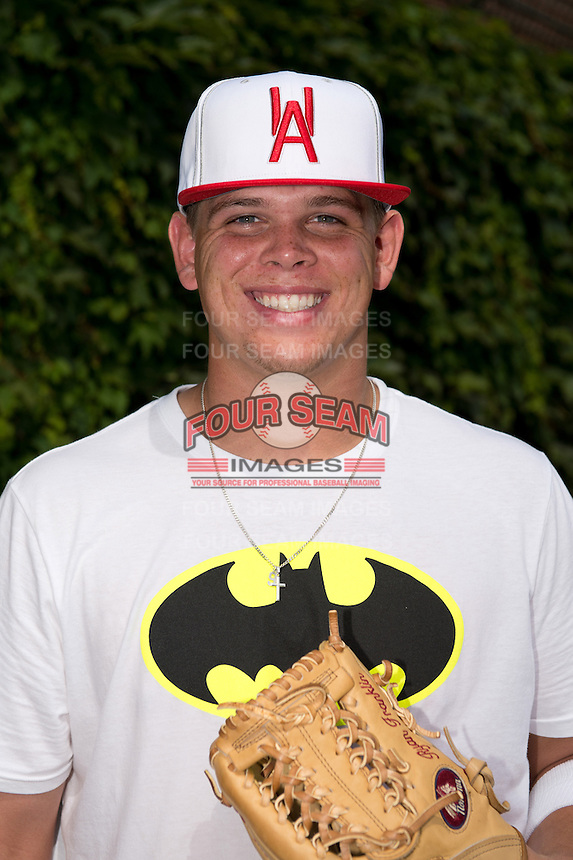 Corey Zangari (9) of Carl Albert High School in Oklahoma City, Oklahoma poses for a photo during practice before the Under Armour All-American Game on August 16, 2014 at Wrigley Field in Chicago, Illinois.  (Mike Janes/Four Seam Images)