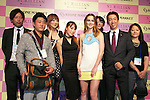 """(L to R) Leighton Meester, Taijiro Nakamura, September 25 2014, Tokyo, Japan : (L to R) American singer, model and actress Leighton Meester and Taijiro Nakamura President of Stone Market CO., LTD. take a pictures with guests during the press conference and VIP party of the new fragrance """"ST. Rillian"""" by Stone Market on September 25 in Tokyo, Japan. The name of the fragrance comes from Stone/ST and Trillion, and the product will be released on Friday September 26. The perfume contains power stones and cubic zirconia inside the bottle and has variation of fragrance.  (Photo by Rodrigo Reyes Marin/AFLO)"""