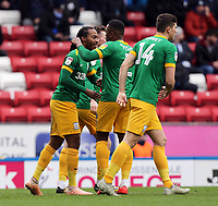 Preston North End's Daniel Johnson (left) celebrates with team-mate Darnell Fisher after scoring the opening goal <br /> <br /> Photographer Rich Linley/CameraSport<br /> <br /> The EFL Sky Bet Championship - Blackburn Rovers v Preston North End - Saturday 9th March 2019 - Ewood Park - Blackburn<br /> <br /> World Copyright © 2019 CameraSport. All rights reserved. 43 Linden Ave. Countesthorpe. Leicester. England. LE8 5PG - Tel: +44 (0) 116 277 4147 - admin@camerasport.com - www.camerasport.com