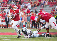 TCU Horned Frogs vs Arkansas Razorbacks –Austin Allen (8) of the Razorbacks tries to avoid the rush of Innis Gaines (6) at Donald W. Reynolds Razorback Stadium, University of Arkansas,  Fayetteville, AR, on Saturday, September 9, 2017,  © 2017 David Beach