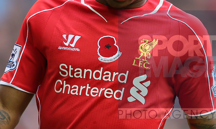 Close up detail of the Liverpool shirt with poppy on it  - Barclays Premier League - Liverpool vs Chelsea - Anfield Stadium - Liverpool - England - 8th November 2014  - Picture Simon Bellis/Sportimage