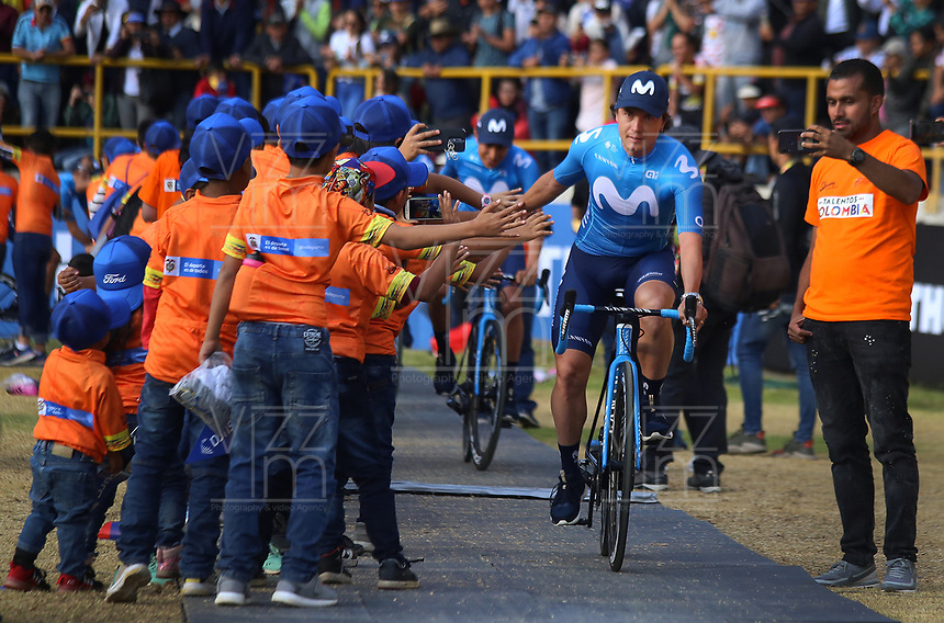 TUNJA - COLOMBIA, 11-02-2020: Equipo MOVISTAR TEAM durante la primera del Tour Colombia 2.1 2020 que se correrá en Boyacá, Colombia entre el 11 y 16 de febrero de 2020. / MOVISTAR TEAM during the launch of Tour Colombia 2.1 2020 that that will run between February 11 and 16, 2020 in Boyacá, Colombia.  Photo: VizzorImage / Darlin Bejarano / Cont