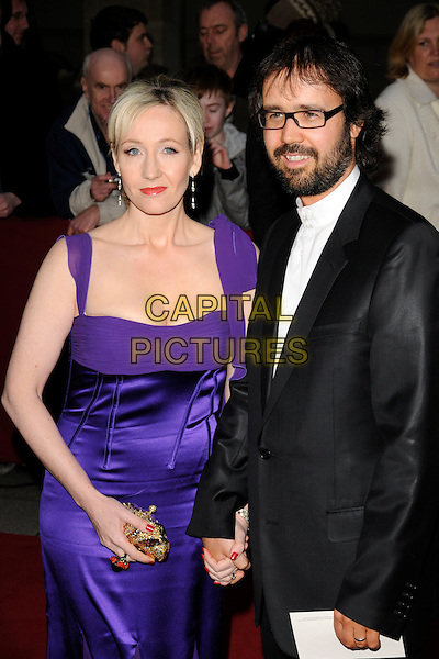 JK ROWLING & NEIL MURRAY.The Galaxy British Book Awards held at the Grosvenor Hotel, Park Lane, London, England. .April 9th, 2008 .half length purple silk satin dress gown black suit married husband wife beard glasses J.K. Joanne glasses beard facial hair.CAP/CAN.©Can Nguyen/Capital Pictures.