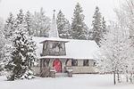 Christmas snowfall in Winter Harbor, Hancock County, ME, USA