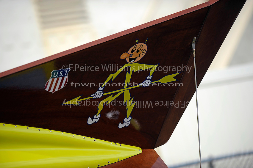 "Detail: tailfin graphics, U-55 ""Gale V"" (replica of the 1955 Gold Cup winner)"