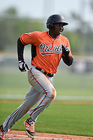 First baseman Randolph Gassaway (87) of the Baltimore Orioles organization during a minor league spring training camp day game on March 23, 2014 at Buck O'Neil Complex in Sarasota, Florida.  (Mike Janes/Four Seam Images)