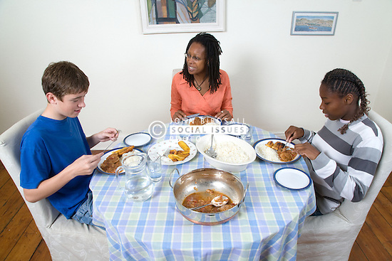 Mother; daughter and daughter's friend sharing a meal,