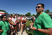 NWA Democrat-Gazette/FLIP PUTTHOFF <br /> J.D. Arch (right), with the Trail of Tears bike ride support team, talks with riders Tuesday June 20 2017 during their stop at Pea Ridge National Military Park.